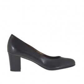 Damenpump aus schwarzem Leder mit Blockabsatz 5 - Verfügbare Größen:  33, 34, 42, 43, 44, 45