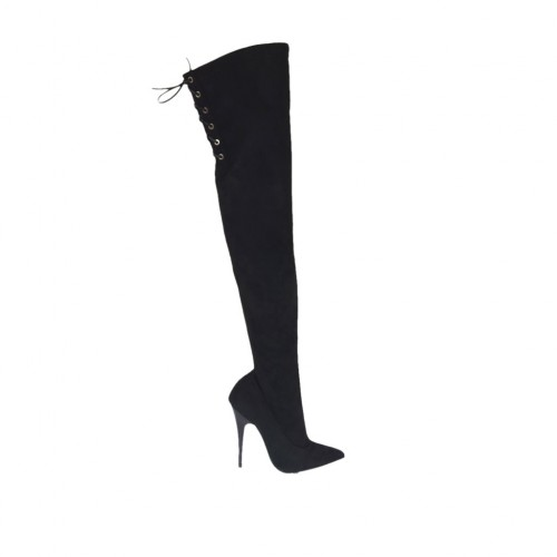 Woman's over-the-knee boot in black suede and elastic material with laces heel 11 - Available sizes:  31