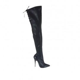 Schenkelhoher Damenstiefel aus schwarzem Leder und elastischem Material mit Schnüren Absatz 11 - Verfügbare Größen:  31, 32, 33, 47