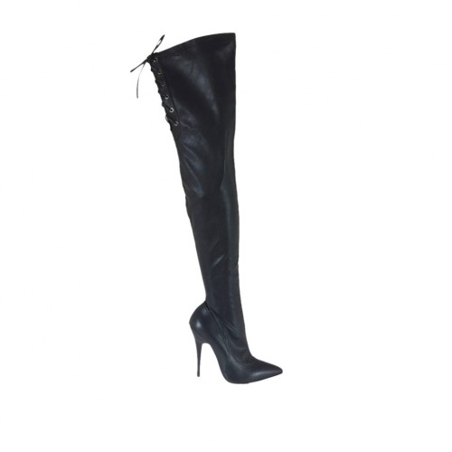 Woman's over-the-knee boot in black leather and elastic material with laces heel 11 - Available sizes:  31, 32, 33, 47