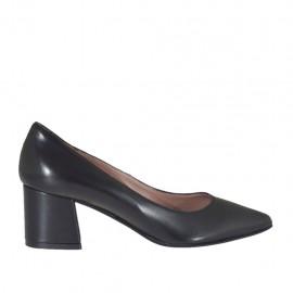Zapato de salon a punta para mujer en piel negra tacon cuadrado 5 - Tallas disponibles:  33, 34, 45