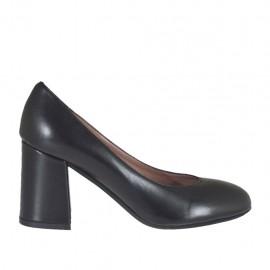 Damenpump aus schwarzem Leder Blockabsatz 6 - Verfügbare Größen:  32, 33, 34, 42, 43, 44, 45