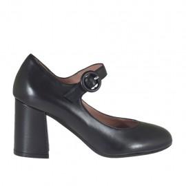 Zapato de salón para mujer con cinturon en piel negra tacon cuadrado 6 - Tallas disponibles:  32, 43, 44