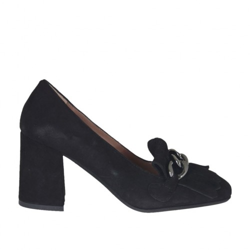 Woman's highfronted shoe with chain and fringes in black suede heel 6 - Available sizes:  32, 44