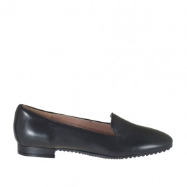 Woman's mocassin in black leather heel 1 - Available sizes:  32