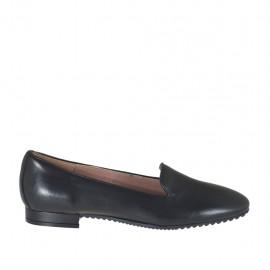 Zapato mocasino para mujer en piel color negro tacon 1 - Tallas disponibles:  32, 43, 44, 45