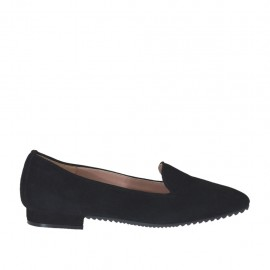 Woman's mocassin in black suede heel 1 - Available sizes:  32, 34, 43