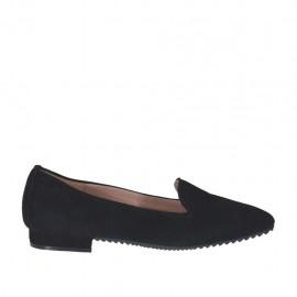 Zapato mocasino para mujer en gamuza color negro tacon 1 - Tallas disponibles:  32, 34, 43, 45