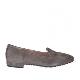Zapato mocasino para mujer en gamuza color gris pardo tacon 1 - Tallas disponibles:  33, 34, 42, 43, 44, 45