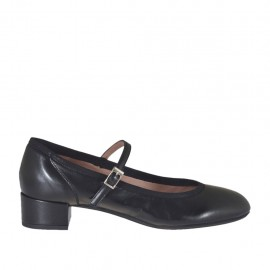 Woman's pump with strap in black leather heel 3 - Available sizes:  33, 34, 43, 44, 45