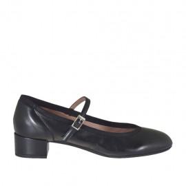 Zapato de salón para mujer con cinturon en piel negra tacon 3 - Tallas disponibles:  32, 33, 34, 42, 43, 44, 45
