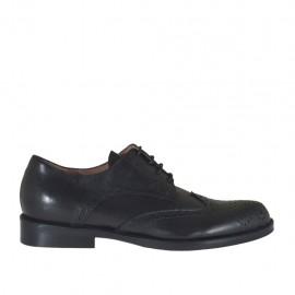 Chaussure derby à lacets pour femmes en cuir noir avec talon 2 - Pointures disponibles:  32, 42, 43, 44, 45
