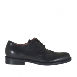 Woman's laced derby shoe in black leather heel 2 - Available sizes:  32, 33, 42, 43, 44, 45