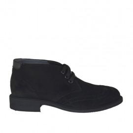 Chaussure à lacets pour hommes en daim noir avec pièces en cuir noir - Pointures disponibles:  37, 38, 47, 48, 49, 50