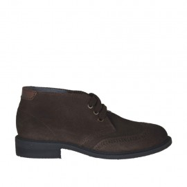 Men's laced shoe in brown suede with brown leather inlays - Available sizes:  47, 48