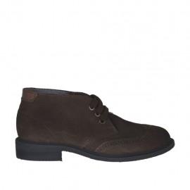 Zapato con cordones para hombre en gamuza marron con añadidos en piel marron  - Tallas disponibles:  37, 47, 48, 49