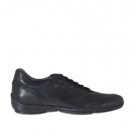 Men's sports shoe with laces in black-colored leather - Available sizes:  47, 48, 49, 50