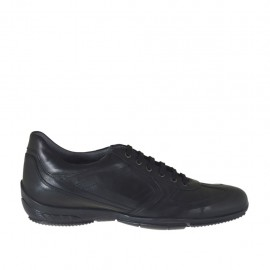 Men's laced sports shoe in black-colored leather - Available sizes:  47, 48, 50