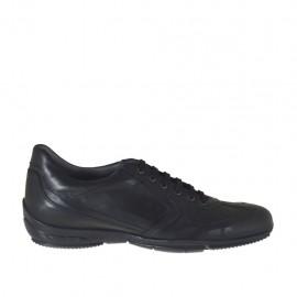 Sportlicher Herrenschuh mit Schnüren aus schwarzfarbigem Leder - Verfügbare Größen:  47, 48