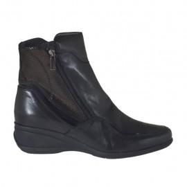 Woman's ankle boot with zippers in black leather and patent leather and glittered grey leather wedge heel 5 - Available sizes:  42, 43, 44, 45, 46