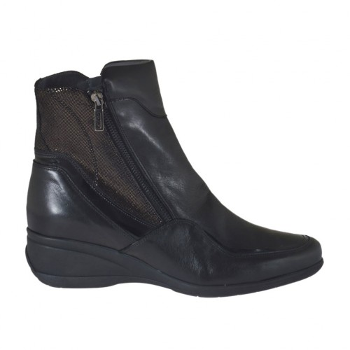 Woman's ankle boot with zippers in black leather and patent leather and glittered grey leather wedge heel 5 - Available sizes:  45