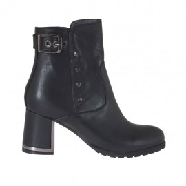 Woman's ankle boot with zipper, buckle and studs in black leather with chrome plated heel 6 - Available sizes:  32, 42, 43, 44, 45