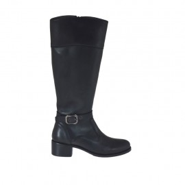 Woman's boot with zipper and buckle in black leather heel 4 - Available sizes:  42, 43, 44