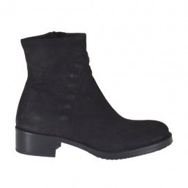 Woman's ankle boot with zipper in black nubuck leather heel 4 - Available sizes:  33, 34, 43, 44, 46