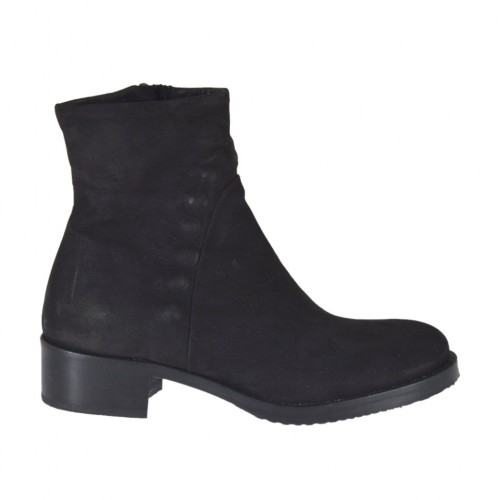 Woman's ankle boot with zipper in black nubuck leather heel 4 - Available sizes:  33