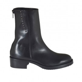 Woman's ankle boot with zipper and studs in black leather heel 4 - Available sizes:  33, 44