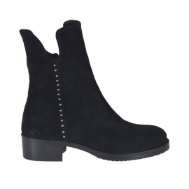 Woman's ankle boot with zipper and studs in black suede heel 4 - Available sizes:  33, 34