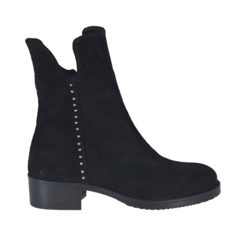 Woman's ankle boot with zipper and studs in black suede heel 4 - Available sizes:  33