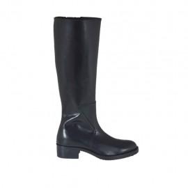 Damenstiefel aus schwarzem Leder mit Reißverschluss Absatz 4 - Verfügbare Größen:  33, 42, 43, 44, 45, 46