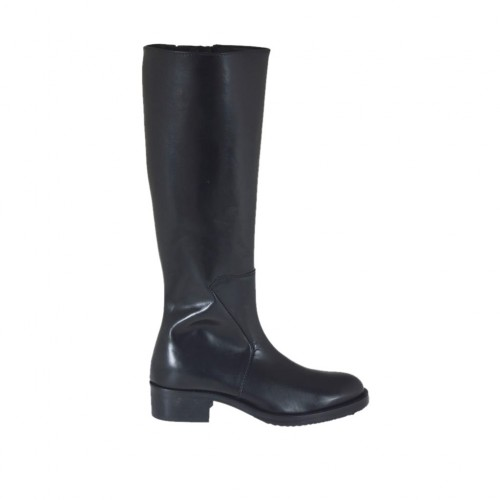 Woman's boot in black leather with zipper heel 4 - Available sizes:  33, 43