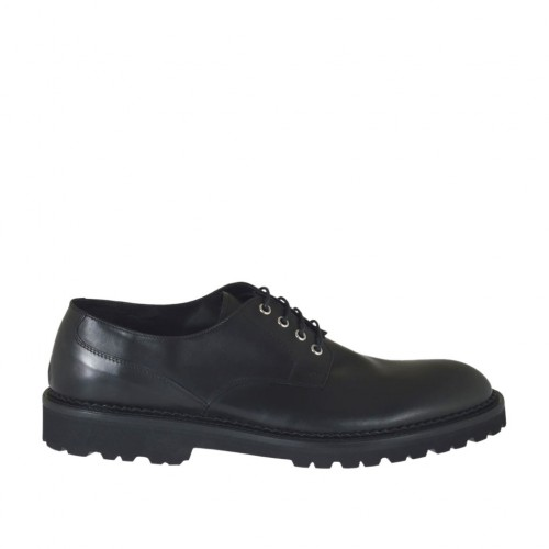 Men's derby laced shoe in black leather - Available sizes:  47, 49, 51, 52