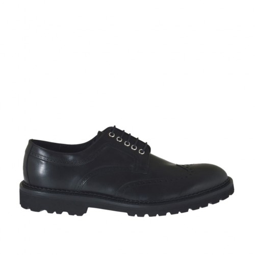 Men's derby shoe with laces and wingtip decorations in black leather - Available sizes:  47, 48, 49, 51