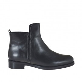 Woman's ankle boot with two zippers in black-colored leather heel 3 - Available sizes:  33, 47