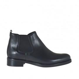 Botines para mujer con elasticos en piel negra con tacon 3 - Tallas disponibles:  34, 42, 43, 44, 45, 46, 47