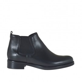 Woman's ankle boot with elastic bands in black-colored leather with heel 3 - Available sizes:  34, 42, 43, 44, 45, 46, 47