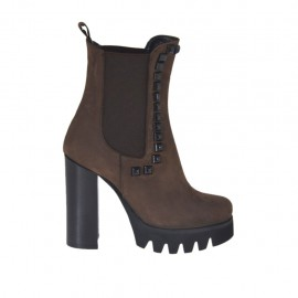 Woman's ankle boot with elastic bands and studs in brown nubuck leather heel 10 - Available sizes:  42, 43