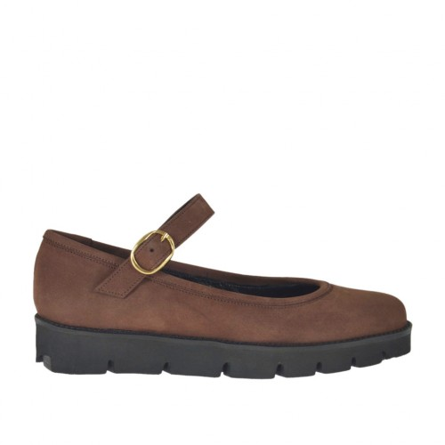 Woman's ballerina shoe in brown nubuck leather with strap wedge heel 3 - Available sizes:  33, 42, 43, 44