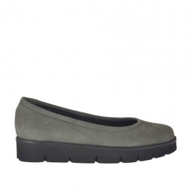 Woman's ballerina shoe in grey nubuck leather wedge heel 3 - Available sizes:  42, 43
