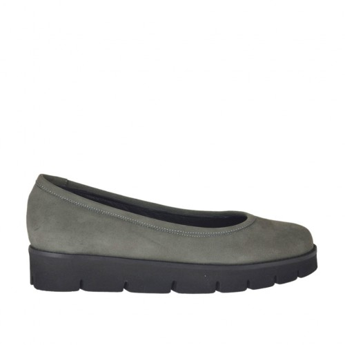 Woman's ballerina shoe in grey nubuck leather wedge heel 3 - Available sizes:  42