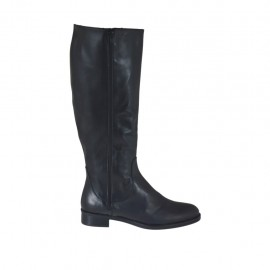 Woman's boot with two zippers in black leather heel 3 - Available sizes:  42, 43, 44, 45, 46