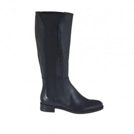 Damenstiefel aus schwarzem Leder mit Gummibändern Absatz 3 - Verfügbare Größen:  42, 43, 44, 46