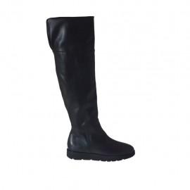 Botas para mujer con cremallera en piel negra cuña 3 - Tallas disponibles:  42, 43, 44