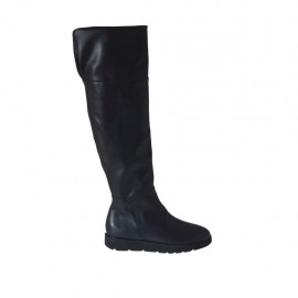 Woman's boot with zipper in black leather wedge heel 3 - Available sizes:  42, 43, 44