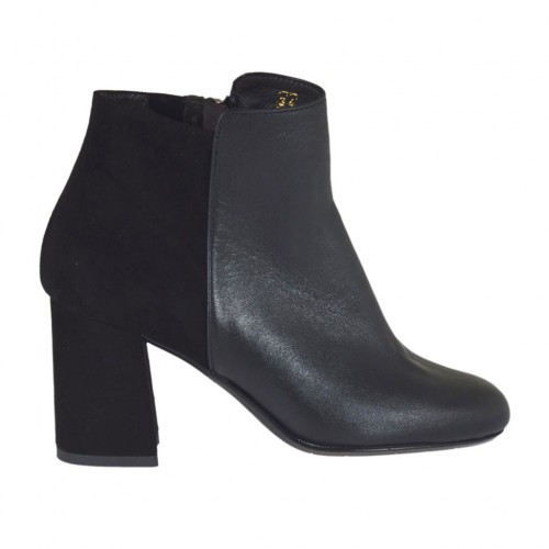 Woman's ankle boot in black leather and suede with zipper heel 7 - Available sizes:  45