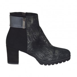 Woman's shoe with zipper in black suede, grey leather and glittered silver printed suede heel 6 - Available sizes:  33, 34, 42, 43, 44, 45