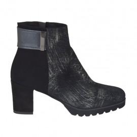 Zapato con cremallera en gamuza negra, piel gris y gamuza imprimida plateado brillante tacon 6 - Tallas disponibles:  32, 33, 34, 42, 43, 44, 45